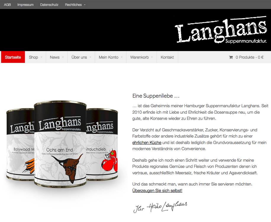 Screenshot Langhans Suppenmanufaktur