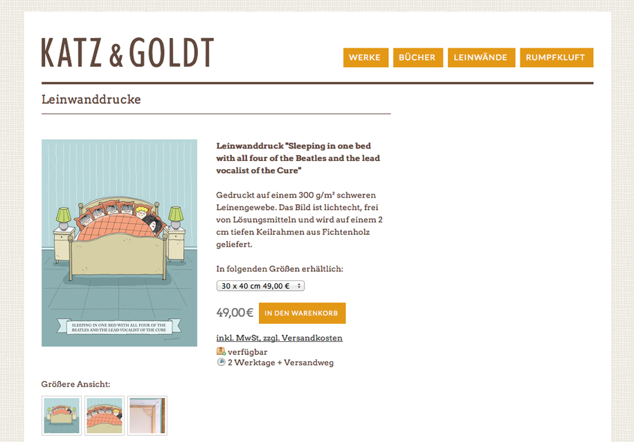 Screenshot Katz und Goldt-Shop