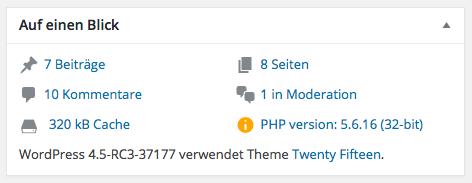 """PHP-Version im """"Auf einem Blick""""-Dashboard-Widget"""